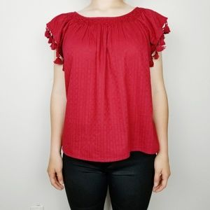 The Great.   deep red   tassels   blouse   eyelet